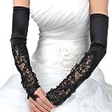 Artwedding Women's Opera Length Fingerless Satin Gloves