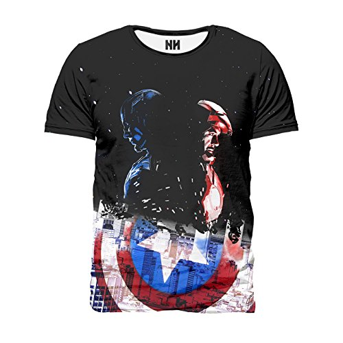 CAPITAN AMERICA & IRON MAN - Marvel Comics T-Shirt Man Uomo - Civil War Captain America Steve Rogers Fumetti Film Supereroi Stan Lee