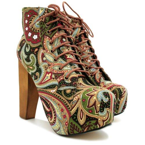 Lace Up Wooden Block Heel Concealed Platform Ankle Boots