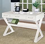 Home Office Desk with Triangular Legs in White Finish