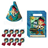 Disney Jake and the Neverland Pirates Party Favor Pack including Cone Hats, Blowouts and Treat Sacks - 8 Guests