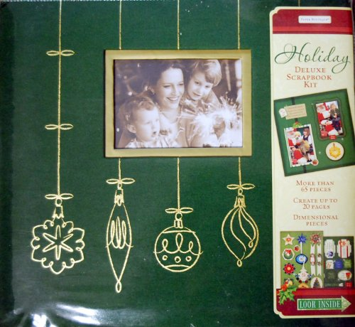 """Christmas Holiday Green and Gold Deluxe Postbound 12"""" x 12"""" Pre-Designed Scrapbook Kit with Stickers, paper boutique"""