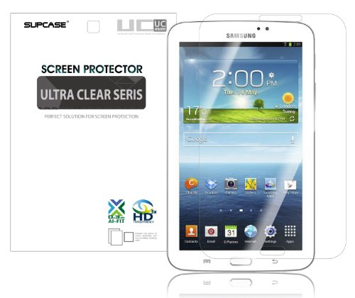 SUPCASE Premium Ultra Clear Screen Protector for Samsung Galaxy Tab 3 7.0 Tablet (2 Pack, SM-T210/T211) - Bubble Free Installation Instruction Included