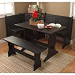 Target Marketing Systems Traditional Style 3 Piece Nook Corner Dining Set, Seats 6, Black