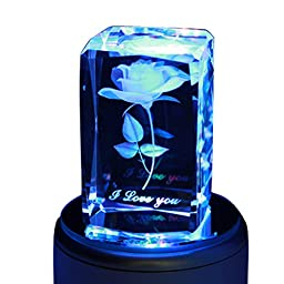 LIWUYOU 3D Rose Crystal Music Box 18 Note Colorful Romantic Valentine\'s Day Birthday Gifts for Women Girls, Mp3 Base