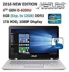 "Asus (2016 ) Premium High Performance 2-in-1 Convertible Laptop PC, 13.3"" Full HD Touch-Screen Display, Intel Core i5-6200U, 6GB Memory, 1TB HDD, Backlit Keyboard, Bluetooth, Windows 10"