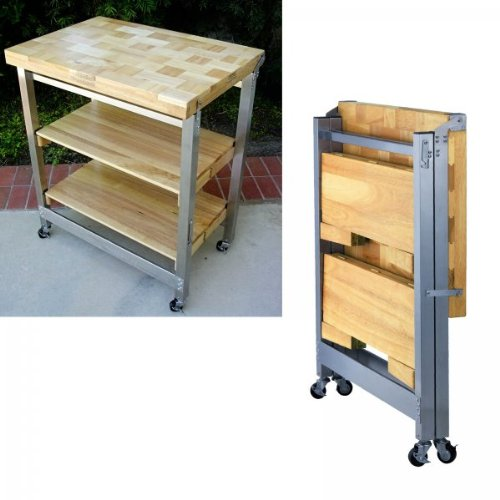 "Folding Kitchen Island Cart >> Order Today Deluxe Folding Kitchen Island (Natural) (36""H x 30""W x 20.5""D) ~ jeremymaysredvoice"