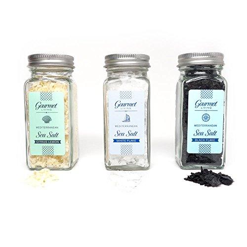 Gourmet Living Mediterranean Sea Salt Trio | Cyprus Sea Salt Sampler | Black, White and Lemon Infused Salt Crystals (Infused Salt compare prices)