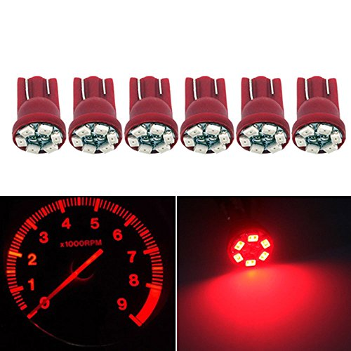 Partsam 6X Red T10 Wedge 6-Smd Led Dashboard Instrument Indicator Light Bulbs