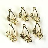 星と月 イヤリングにも使えるレジン枠 ゴールド 4個 ミール皿フレーム アクセサリーパーツ ハンドメイド 手芸材料