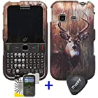 3 items Combo: ITUFFY (TM) LCD Screen Protector Film + Case Opener + Outdoor Wild Deer Grass Camouflage Design Rubberized Snap on Hard Shell Cover Faceplate Skin Phone Case for Samsung S390G (Straight Talk / Net 10 / Tracfone)