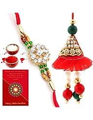 Ethnic Rakhi Designer Colorful Floral Pattern Fashionable And Stylish Bhaiya Bhabhi Mauli Thread And Beads Rakhi... - B01IIMHO78