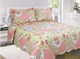 Patchwork Shelby Red Blue Floral Bedspread Quilted Comforter Throw Single Bed Traditional Country Cottage