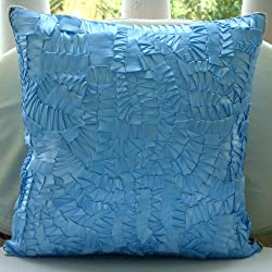 Mist - Decorative Pillow Covers - Silk Pillow Cover Embroidered with Satin Ribbons