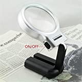 Denshine 3x Handheld Magnifier Collapsible Magnifying Glass Led Folding Stand
