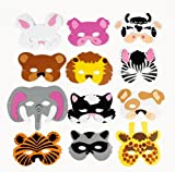 12 Asst. Kids Foam Animal Face Masks Zoo Farm Party