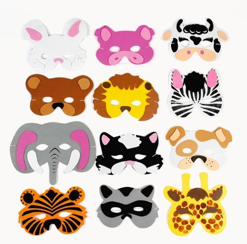Fun Express 12 Assortment Kids Foam Animal Face Masks Zoo Farm Party Costume