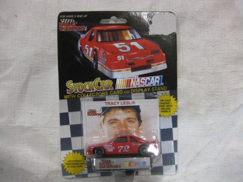 NASCAR #72 Tracy Leslie MGM Brakes Racing Team Stock Car With Driver's Collectors Card And Display Stand. Racing Champions Black Background Red Series 51 Car - 1