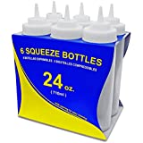 New Star 26238 Wide Mouth Plastic Squeeze Bottles, 24-Ounce, Clear, Set Of 6