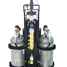 "Air Systems MP-4R 16"" Width, 42"" Height, 21"" Depth, 4500psi Multi-Pak 2-Cylinder Fire Rescue Bottled Air Cart With Handle And 4 Outlet Manifold"