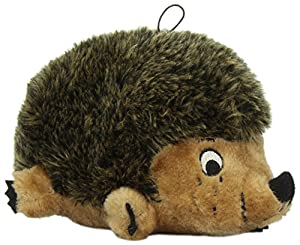 Kyjen PP01025 Hedgehog Dog Toys Plush Rattle Grunt and Squeak Toy, Large, Brown