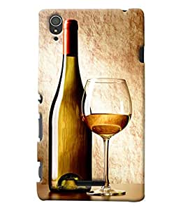 Clarks Wine Glass Hard Plastic Printed Back Cover/Case For Sony Xperia T3