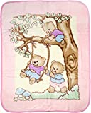 Big Oshi Fuzzy, Plush, Elegant Baby Blanket - Beautiful Teddy Bear Print Design - Perfect Stroller Blanket - Pink