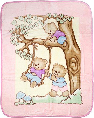 Big Oshi Fuzzy, Plush, Elegant Baby Blanket - Beautiful Teddy Bear Print Design - Perfect Stroller Blanket - 44x55 inches, Pink - 1