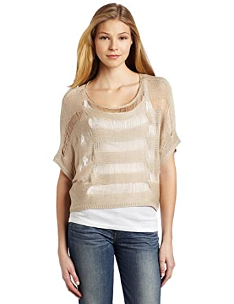 Willow & Clay Women's Drop Needle Sweater, Almond, Medium