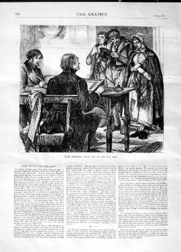 1870 Ireland Rent Paying Family Man Table Old Print