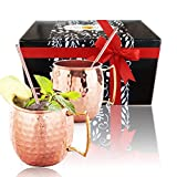 Moscow Mule Copper Mugs and Bonus Straws, Professional Barware Gift Set with Unique Moscow Mule Recipes, Ice Cold Drinks with Improved Taste, Ecofriendly Pure Copper Cups Unlined from Spirit Valley