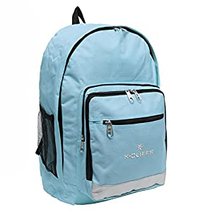 K-Cliffs Light Blue Polyester School Backpack/ Outdoor Backpack/ Hiking Backpack with Reflective Strip