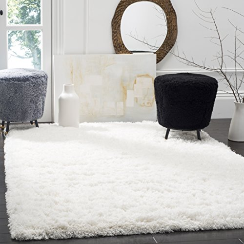 Safavieh Polar Shag Collection PSG800B White Area Rug, 8 x 10