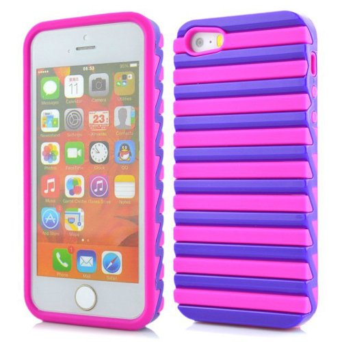 Meaci Apple Iphone 5 5S Case Hard Soft Plastic&Silicone Colour Combo Hybrid Bumper Case (Hotpink&Purple)