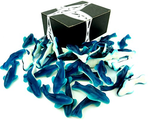 Gummy Blue Sharks by Cuckoo Luckoo Confections, 2 lb Bag in a BlackTie Box (Gummi Shark Candy compare prices)