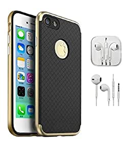 YGS iPaky Premium TPU+PC Hybird Armor Protective Back Bumper Mobile Case Cover for Apple iPhone 7Plus (5.5 Inch)-Gold With Earpod