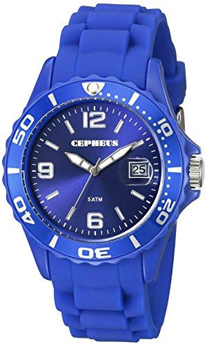 CEPHEUS CP603-033 - Reloj analógico de cuarzo para mujer, correa de silicona color azul