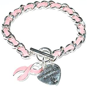 Breast Cancer awareness Pink ribbon faux suede charm bracelet