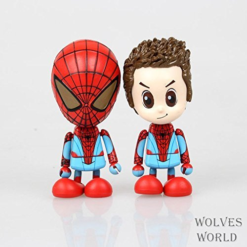 2pcs/set Smile Cute The Amazing Spider-Man Spider Man Peter Parker Spiderman Boxed Action Figure Collection Model Toy