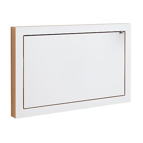 Fläpps - Secrétaire d'État blanc/bord bois/laqué/WxHxD 80x50x6cm/with wall-bags inside/working space 70x40cm