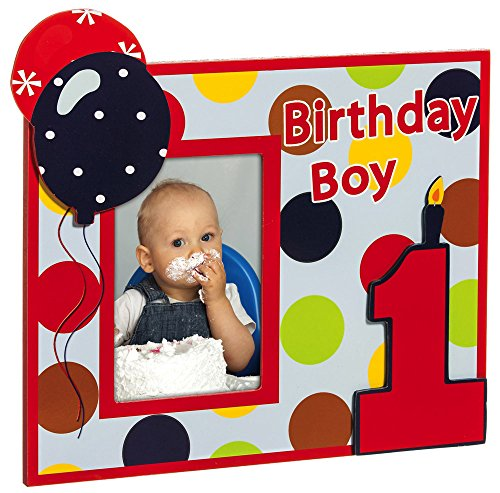 Birthday Boy Wooden 4X6 Photo Frame Dots