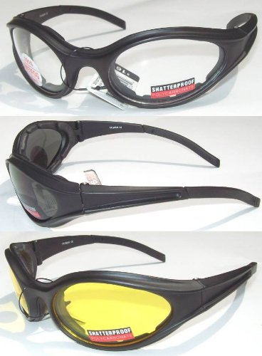3 Black Frame Biker Riding Sunglasses
