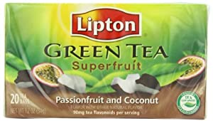 Lipton Tea Bags Green Tea Superfruit, Passionfruit and Coconut, 20Count Packages (Pack of 6)