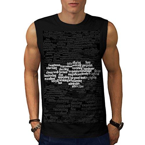 Energia di Parole Tipografico Uomo Nuovo Nero S T-Shirt Senza Maniche | Wellcoda