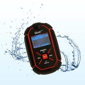 Diver (TM) Waterproof MP3 Player with LCD Display. 4 GB. Kit Includes Waterproof Earphones. (Black)