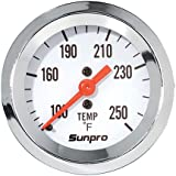 Sunpro CP8207 Mechanical Water/Oil Temperature Styleline Gauge - White Dial