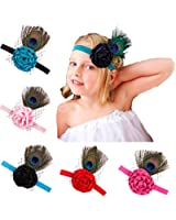 Qandsweet Baby Girl's Headbands with Peacock Feathers Flower (5 Pack)