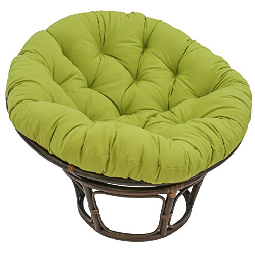 International Caravan 42-Inch Rattan Papasan Chair With Solid Twill Cushion, Mojito Lime, 3312-TW-ML