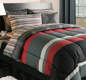 boys queen bedding Buy Black Gray Red Stripes Boys Teen
