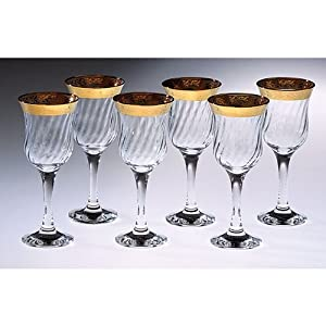 Lorenzo Gold Border Stemmed Water Glass, Set of 6